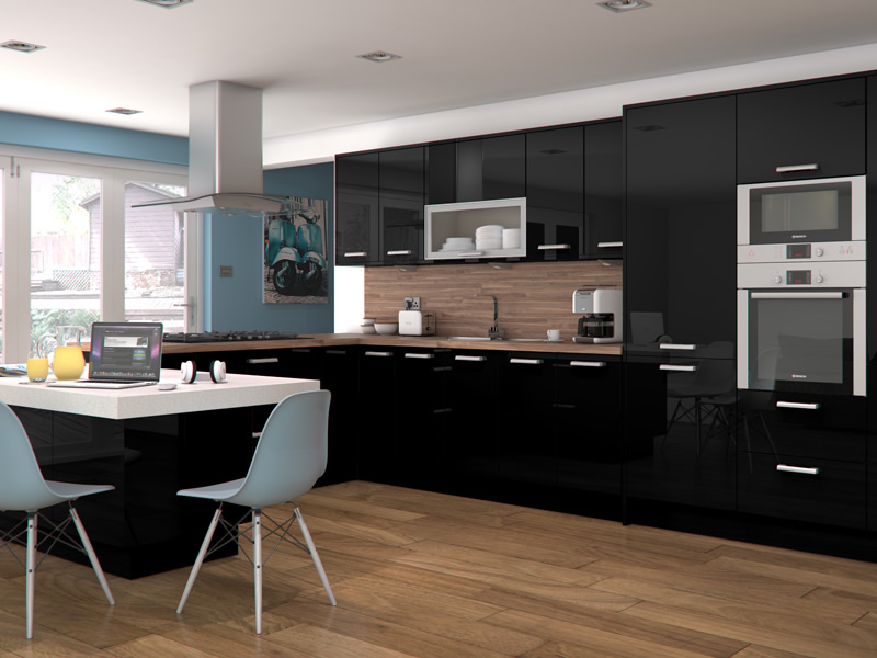 Black gloss kitchen ideas 28 images black high gloss for Black gloss kitchen ideas