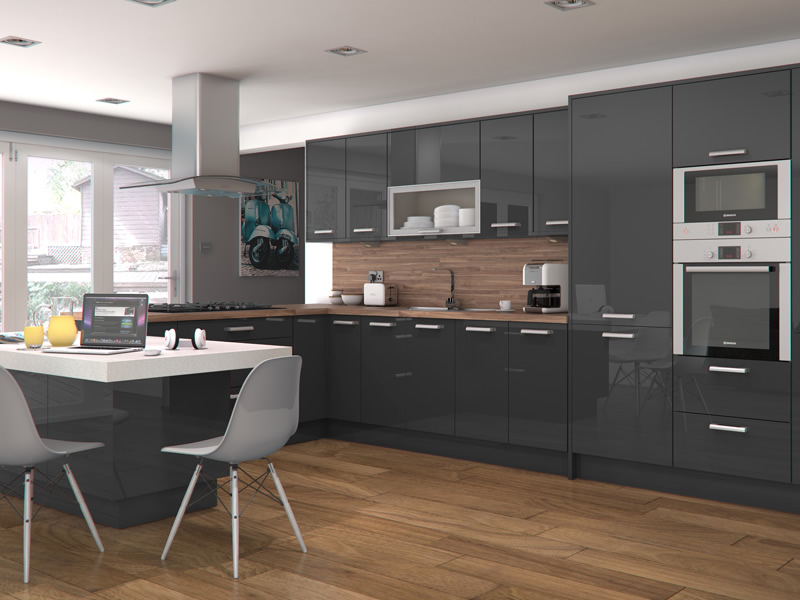 Feature doors available for altino graphite for Kitchen units grey gloss