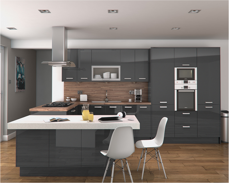 Innova altino graphite kitchens units for Service void kitchen units