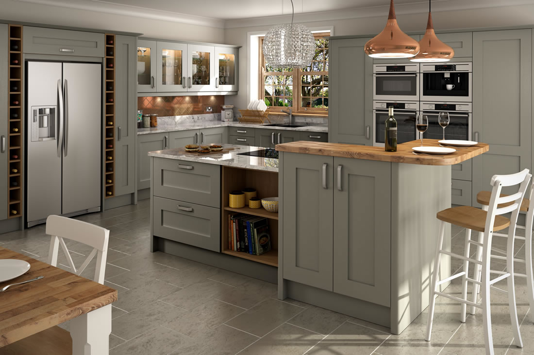 Feature doors important painted kitchen information for Light grey kitchen units
