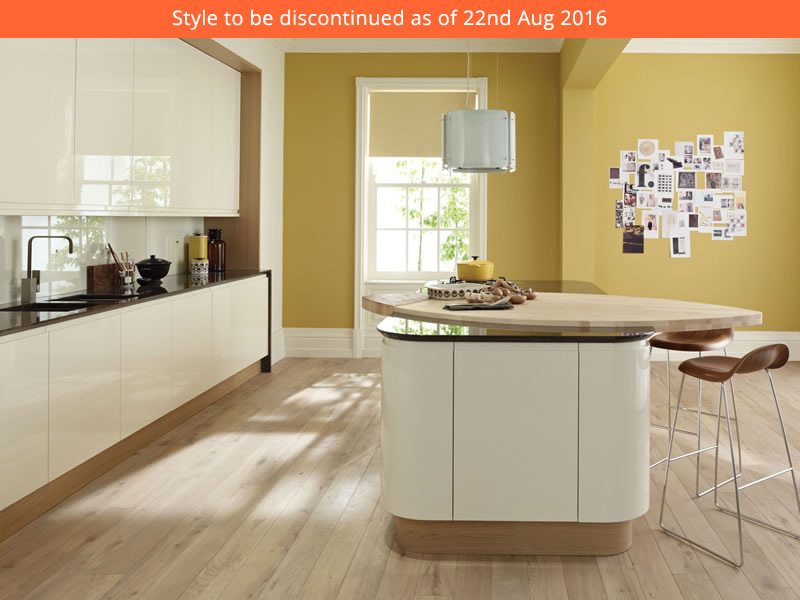 Remo is a gloss lacquered handle free kitchen offering for Service void kitchen units
