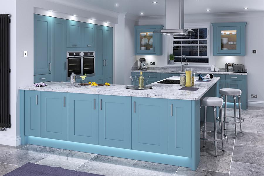 Bespoke paint colour s shown below stone blue for Diy kitchens com reviews