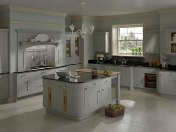 Solid timber frame veneered centre panel 20mm thick grained timber finish - Gray painted kitchen cabinets of eclectic kitchen ...