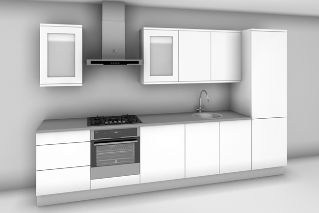 1 811 ex vat straight run kitchen in ayton light grey for Kitchen tall unit design