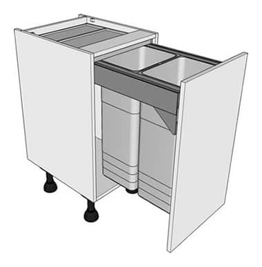 450mm highline pull out bin unit 2 x 32ltr bins front hung for Kitchen base units 300mm depth