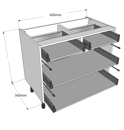 Now offer 3 levels of delivery for complete kitchens we for 600 kitchen drawer unit