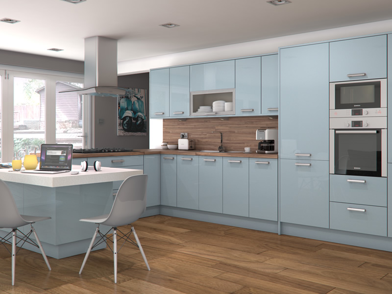 blue gloss kitchen cabinets feature doors specifications cornice amp pelmet recommended 4811
