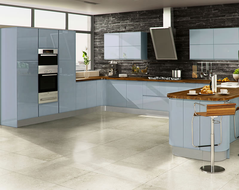 blue gloss kitchen cabinets the manufacturing process for this kitchen requires the 4811