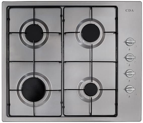 60cm 4 burner gas hob, side controls