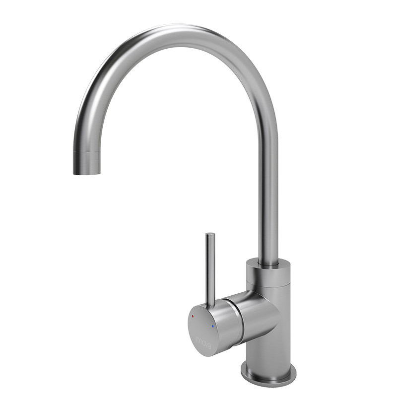 Cenno Curved Spout Tap (Brushed Steel Finish)