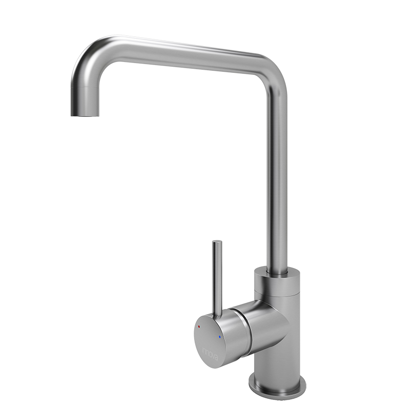 Flusso Square Spout Tap (Brushed Steel)
