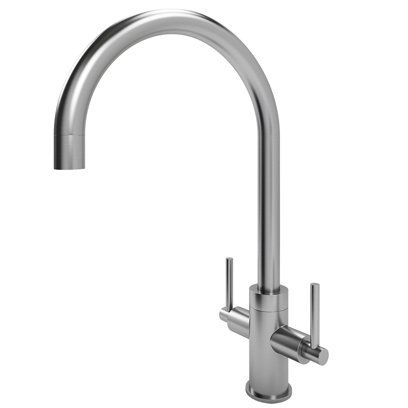 Torrente Curved Spout Tap (Brushed Steel Finish)