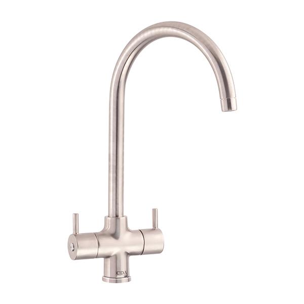 CDA - TC55NI - Contemporary monobloc tap with swan neck spout, nickel