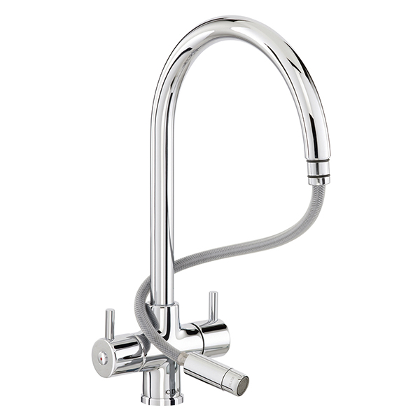CDA - TC56CH - Contemporary monobloc tap with pull-out spray, chrome