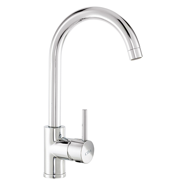 CDA - TC57CH - Contemporary side single lever tap with swan neck spout, chrome