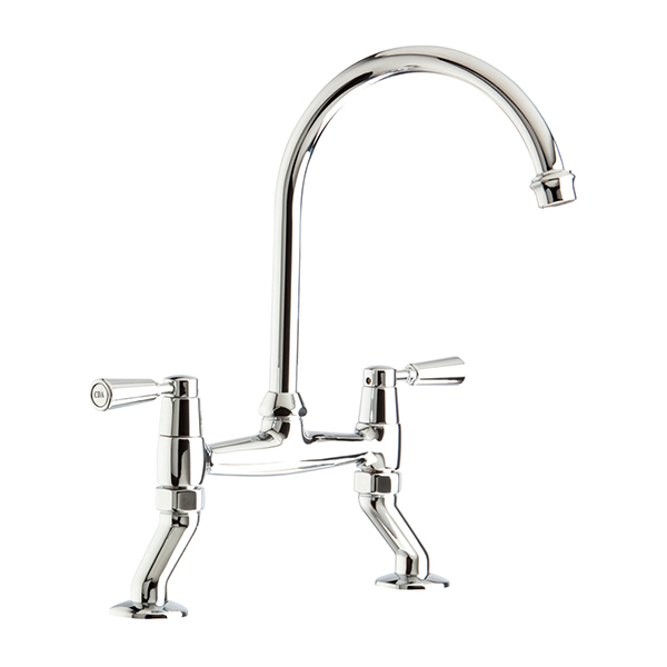 CDA - TT56CH - Traditional quarter turn bridge mixer tap, chrome