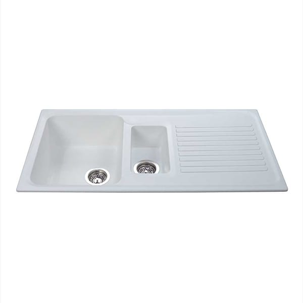 CDA - AS2WH - Composite one and a half bowl sink, white