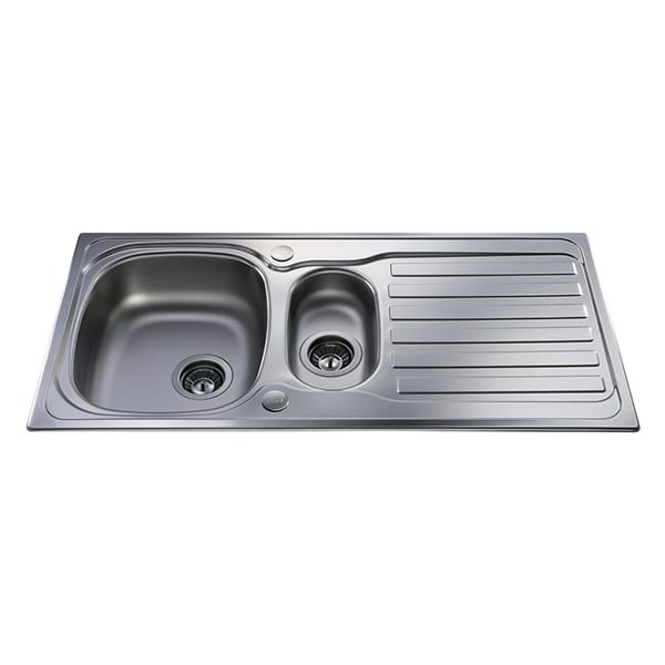 CDA - KA22SS - One and a half bowl sink, stainless steel
