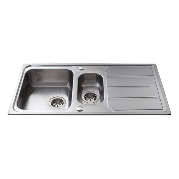 CDA - KA32SS - One and a half bowl sink, stainless steel