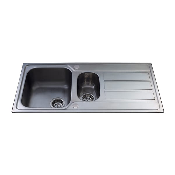 CDA - KA52SS - One and a half bowl sink, stainless steel