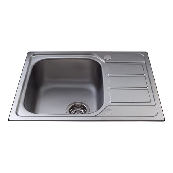 CDA - KA55SS - Single bowl sink with mini drainer, stainless steel