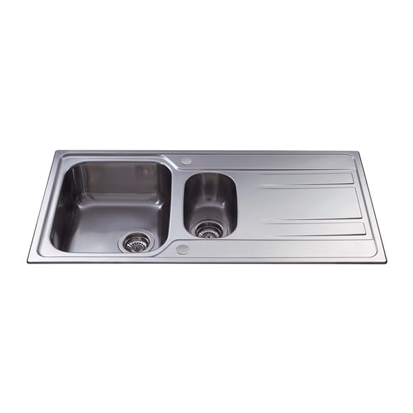 CDA - KA72SS - One and a half bowl sink, stainless steel