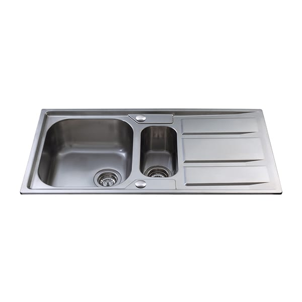 CDA - KA82SS - One and a half bowl sink, stainless steel