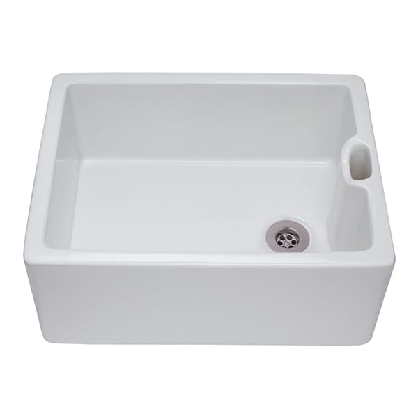 CDA - KC10WH - Ceramic Belfast sink with traditional weir overflow