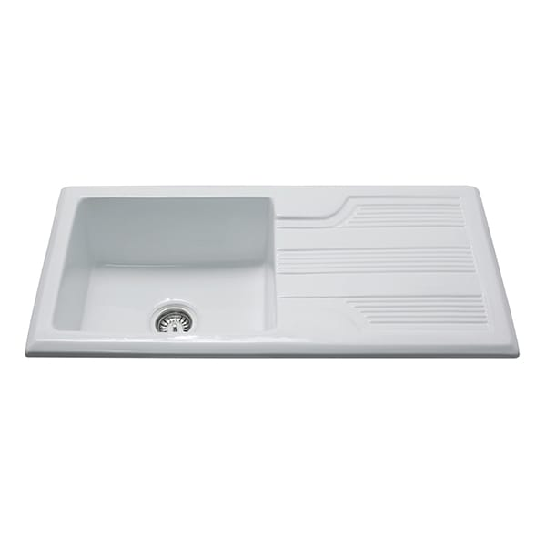CDA - KC23WH - Ceramic single bowl sink, white