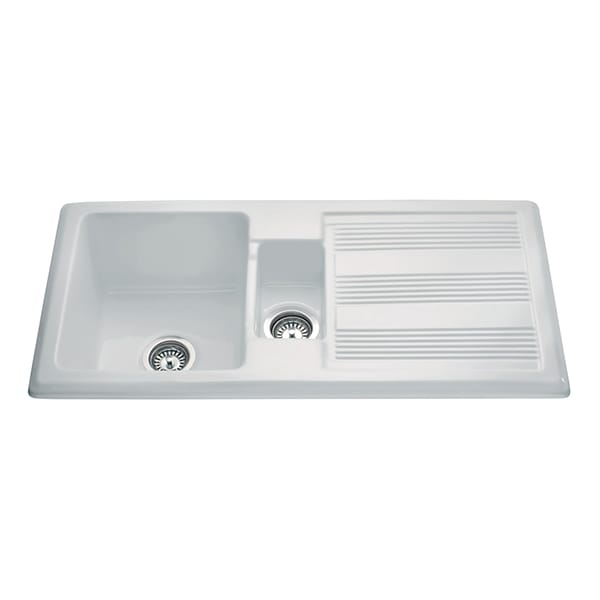 CDA - KC24WH - Ceramic one and a half bowl sink, white