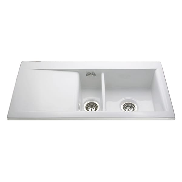 CDA - KC74WH - Ceramic one and a half bowl sink