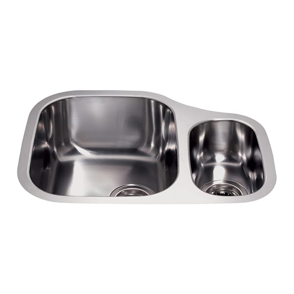 CDA - KCC28SS - Stainless steel undermount left-hand one and a half bowl sink