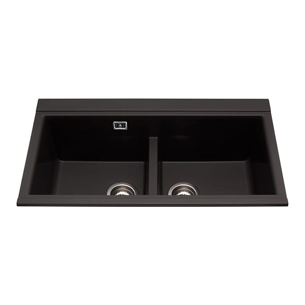 CDA - KG80BL - Composite double bowl sink, black