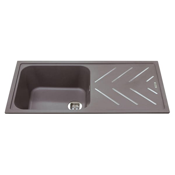 CDA - KG81GR - Composite single bowl sink with steel drainer bars