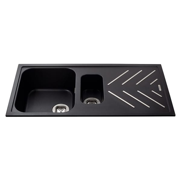 CDA - KG82BL - Composite 1.5 bowl sink with steel drainer bars