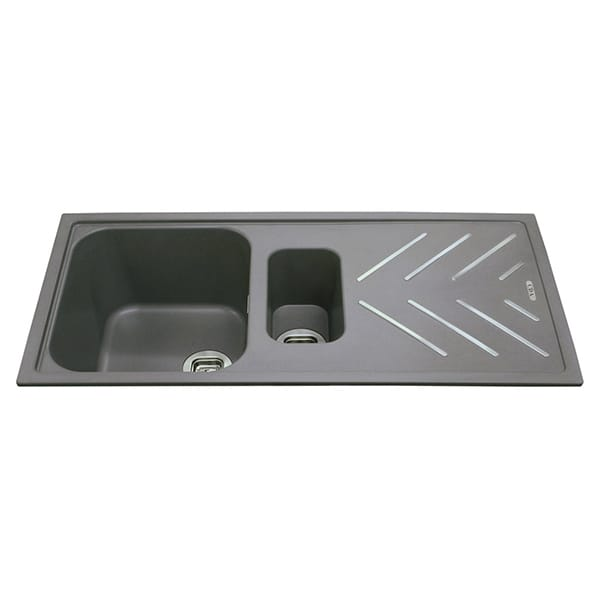 CDA - KG82GR - Composite 1.5 bowl sink with steel drainer bars