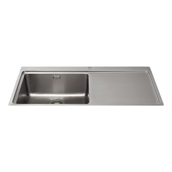 CDA - KVF21RSS - Single bowl flush-fit sink with right hand drainer