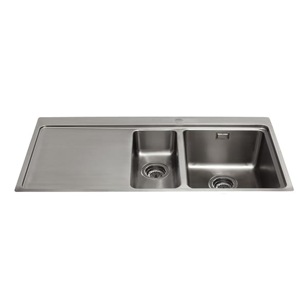 CDA - KVF22LSS - One and a half bowl flush-fit sink with left hand drainer