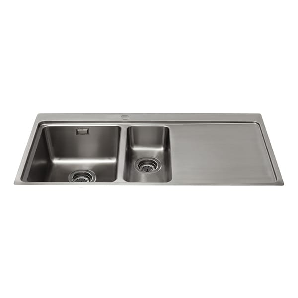 CDA - KVF22RSS - One and a half bowl flush-fit sink with right hand drainer