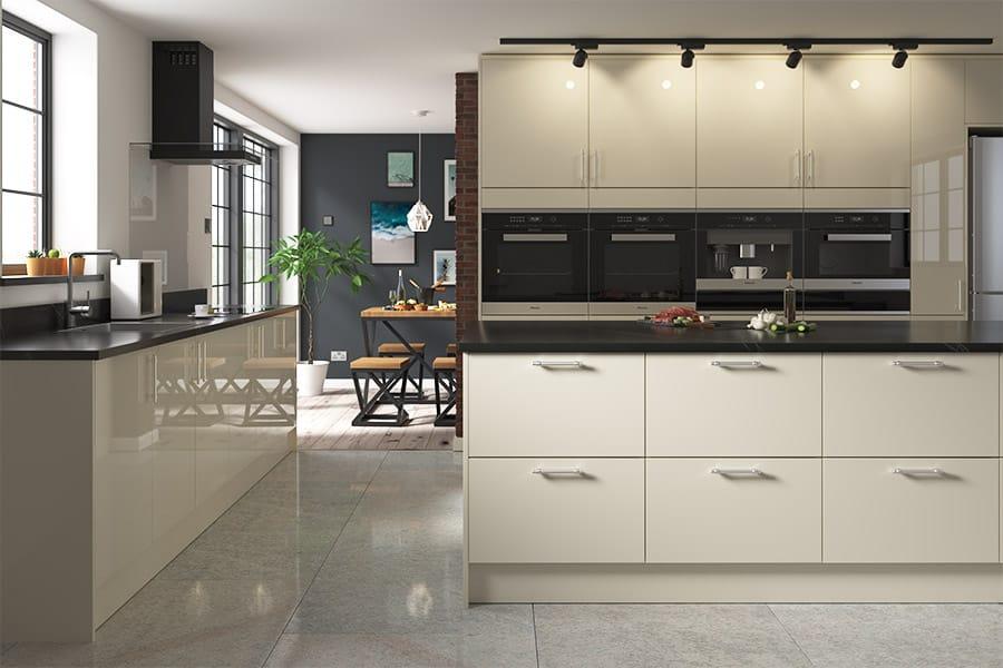 Livorna Cream Kitchens, Gloss Cream Kitchen Cupboards