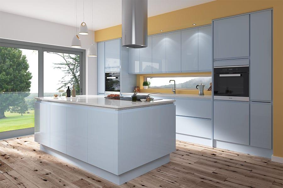Luca Gloss Sky Blue Kitchen Units At, Pale Grey High Gloss Kitchen Units
