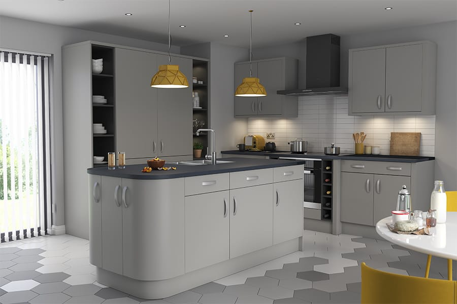 Palazzo Matt Silver Grey Kitchens - Buy Palazzo Matt Silver Grey Kitchen  Units at Trade Prices